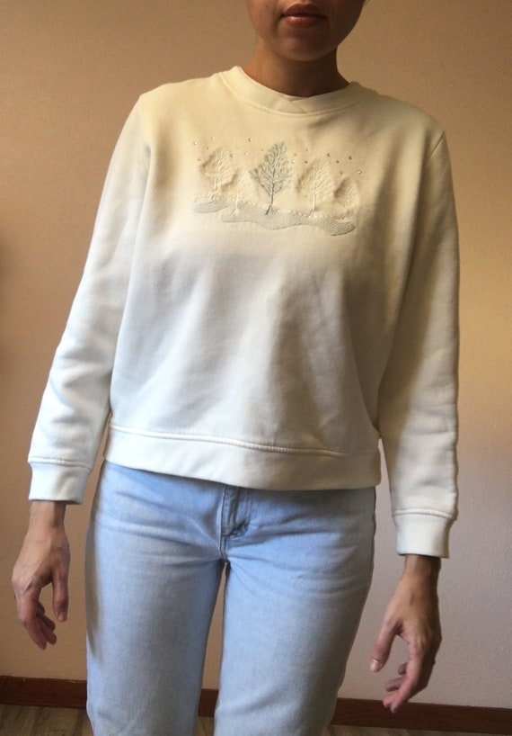 4b0436c04 White winter sweater 90s white sweatshirt white winter