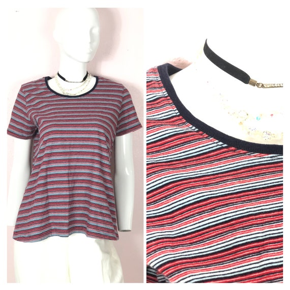 Vintage 90s striped short sleeve red blue white ri