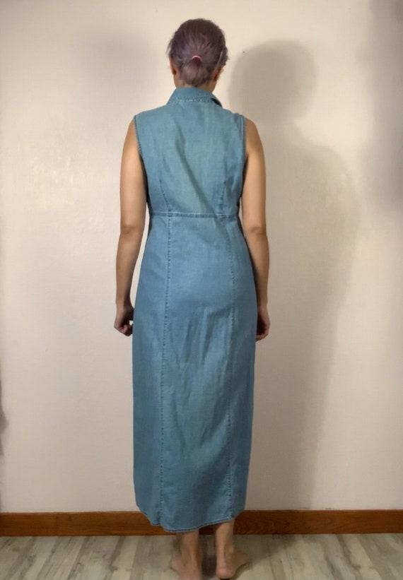 Vintage 90s long button down denim tank top dress… - image 3