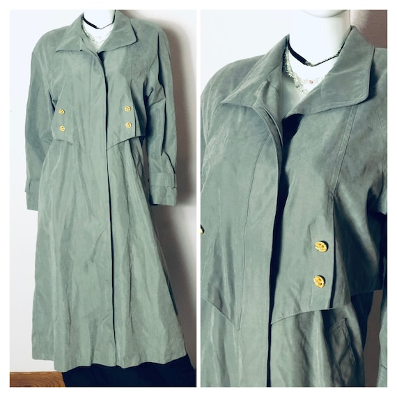 Vintage long olive green trench coat/ army green m