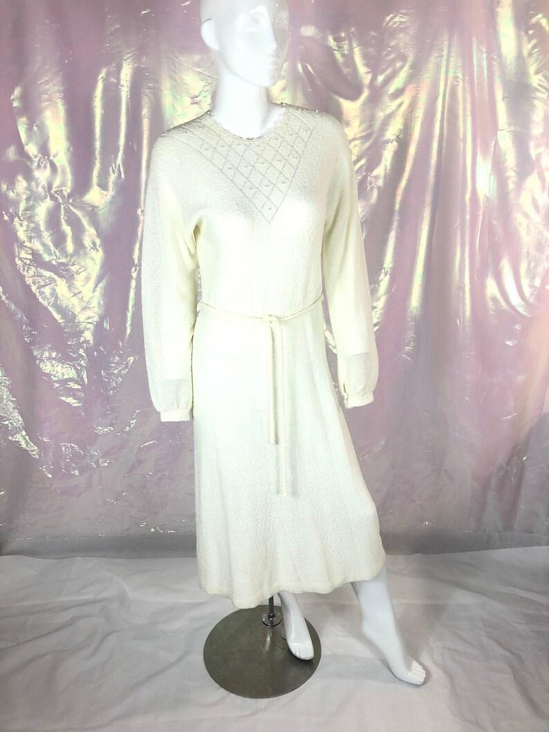 Vintage 70s white knit dressJust Mort dresslong white hippy dresslong sleeve white dresswhite pearl dress70s boho dressfestival dress