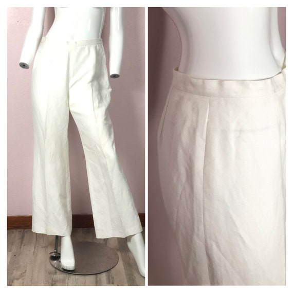 Vintage linen rayon cream white wide leg trousers