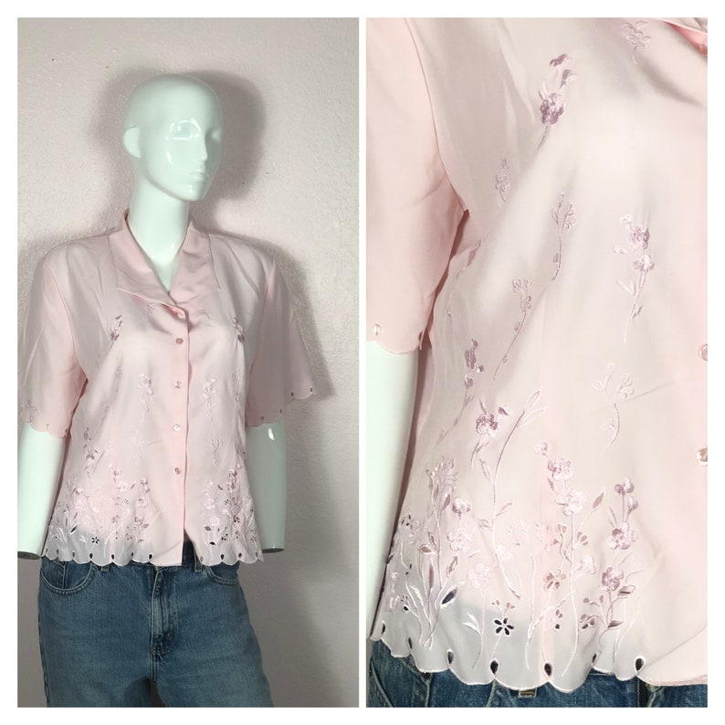 Vintage 80s large pink silky flowy floral embroidered button down short sleeve oxford blousepink preppy 80s shirt