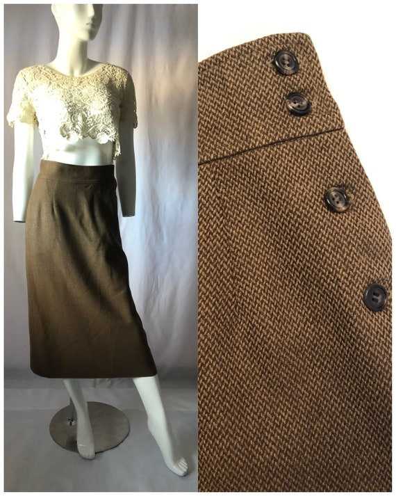 Vintage 80s 90s Calvin Klein long brown skirt/90s