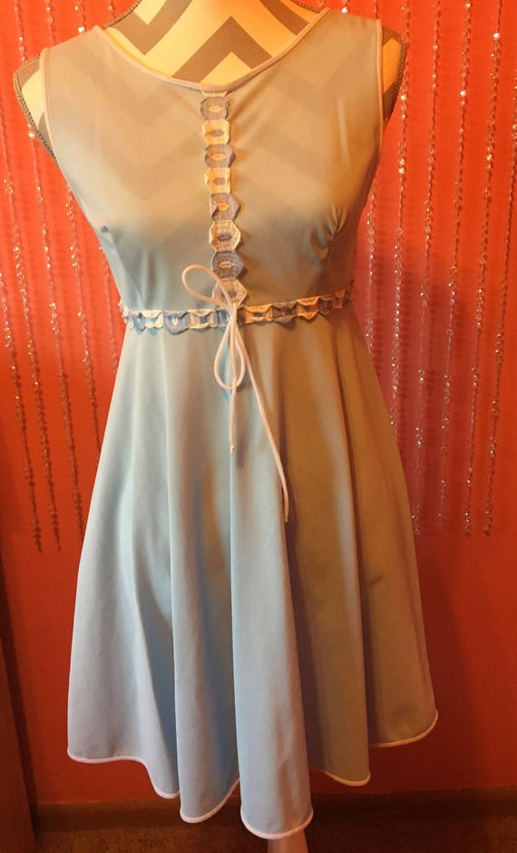 60's/70's pastel blue baby doll mini dress sheer s