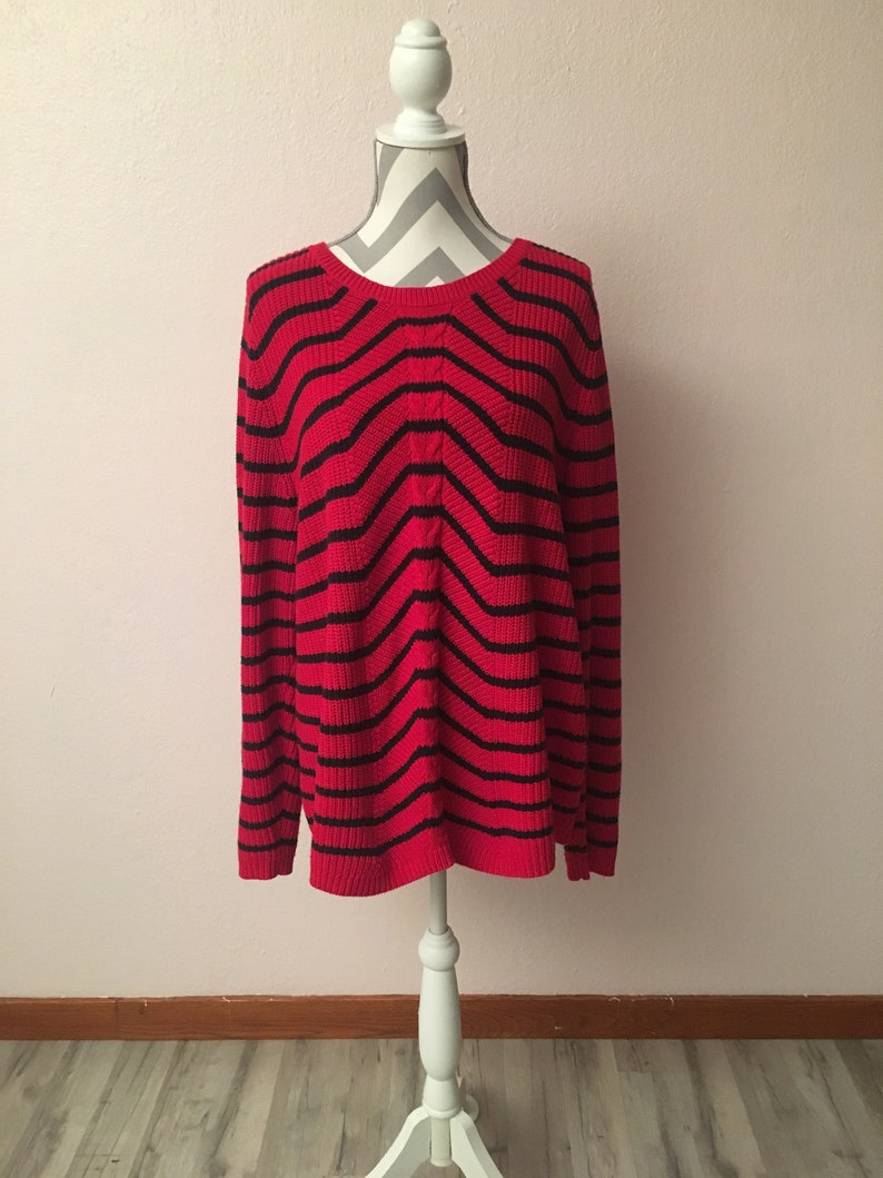 8fcf82d2f 90s plus size red black striped sweater 90s striped