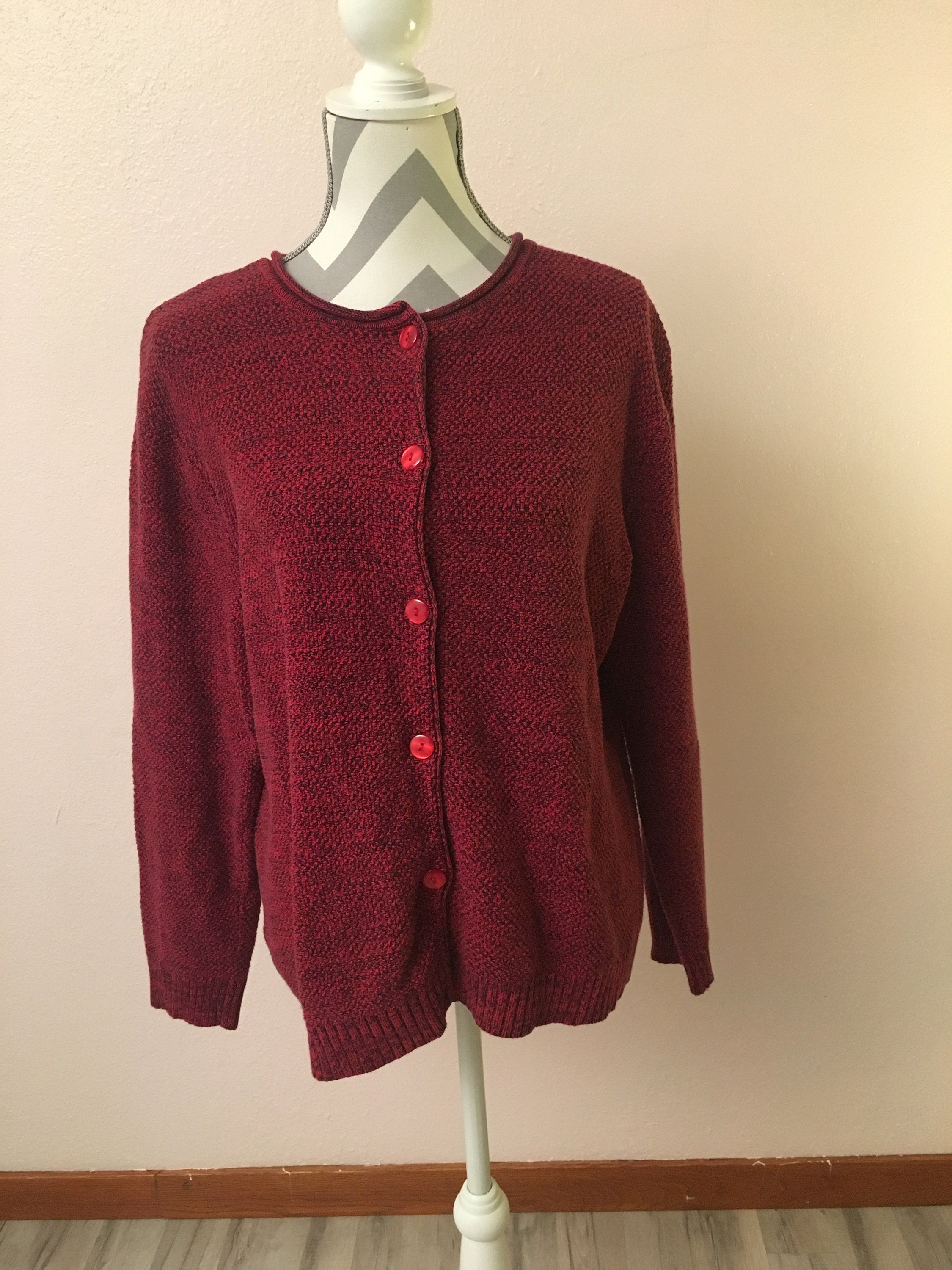 5bb3173b1 90s red sweater plus size red sweater red button down