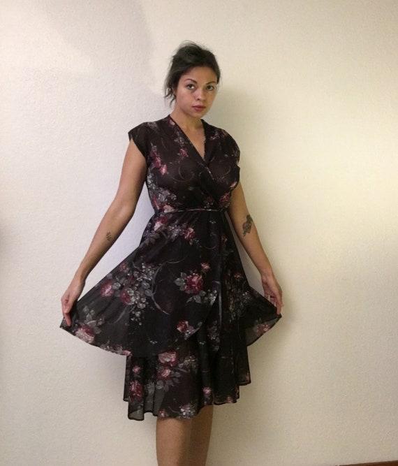 Black floral 70s dress/witchy flowy 70s dress/70s… - image 6