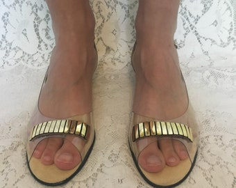 Vintage clear and gold strappy summer sling back sandals