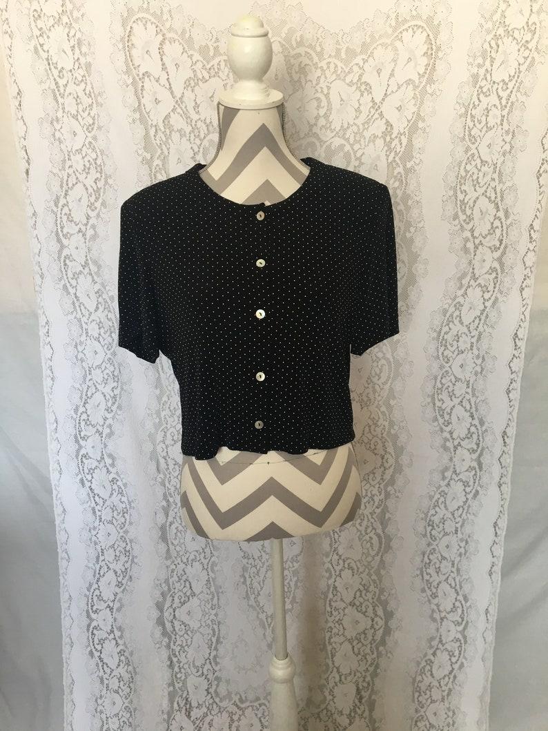 Vintage 90/'s black and white polka dot crop topRonni Nicole 80/'s90/'s blousevintage black shirtvintage blouseblack button down shirt