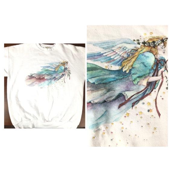 Vintage 80s 90s faerie angel wings watercolor sta… - image 1