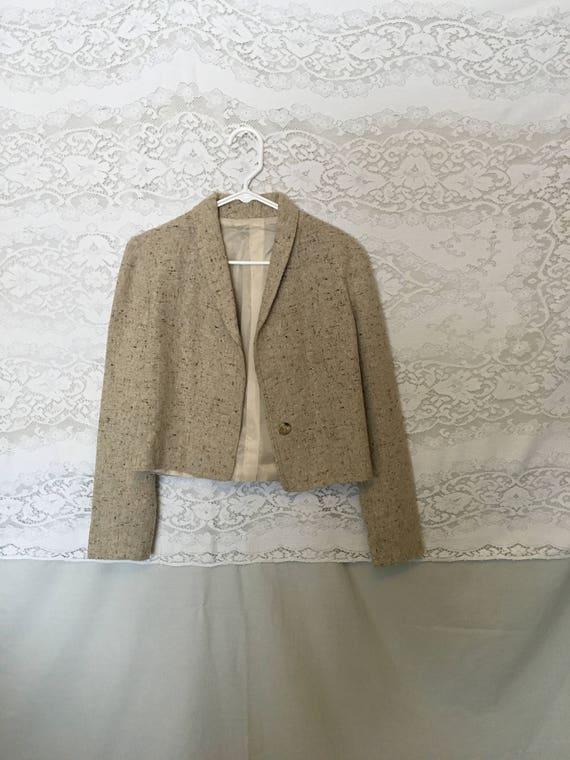 Vintage beige cropped jacket/oatmeal coat/beige bl