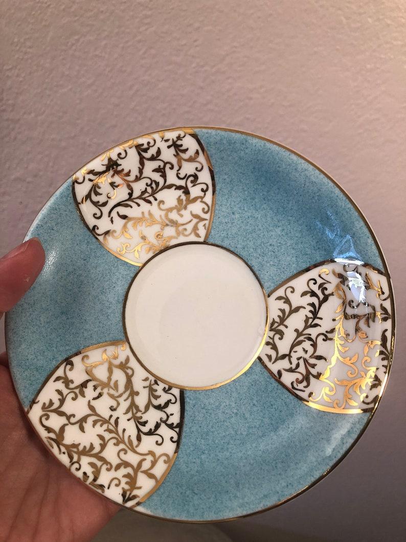 Vintage blue white gold bone china small plate