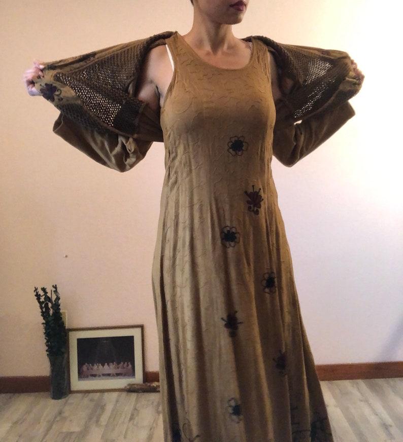 Vintage 90s long brown embroidered hippy dresslong brown boho dress