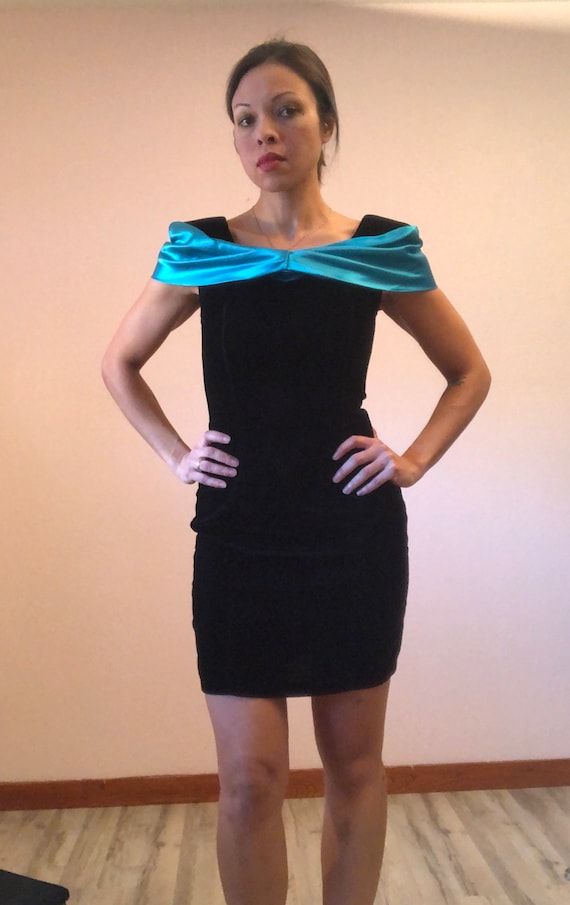 Vintage 80s black velvet prom dress/80s teal prom