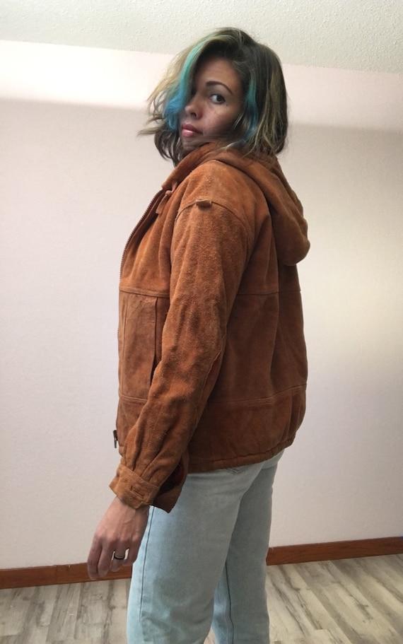 70s hooded leather jacket/vintage leather jacket/o