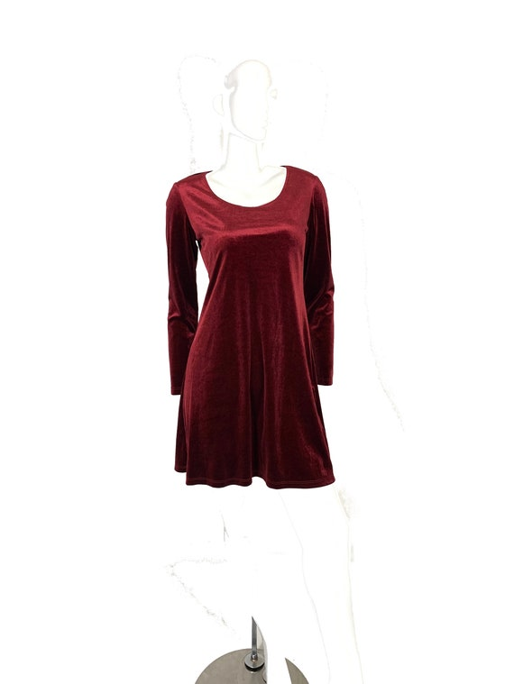 Vintage 90s long sleeve red maroon velvet mini dre