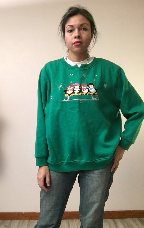 Plus Size Ugly Christmas Sweater.Ugly Christmas Sweater Penguin Sweater Penguin Top Plus Size Christmas Sweater Plus Size Green Sweater Vintage Green Sweater
