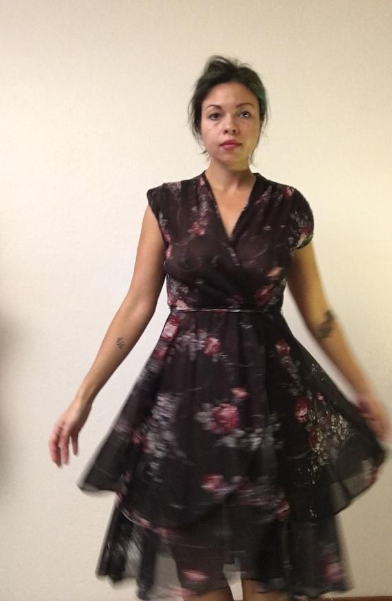 Black floral 70s dress/witchy flowy 70s dress/70s… - image 3