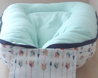 Cordless Mint Baby/Toddler Nest /  Babynest w/ Colorful Arrows shipping within US/U.S