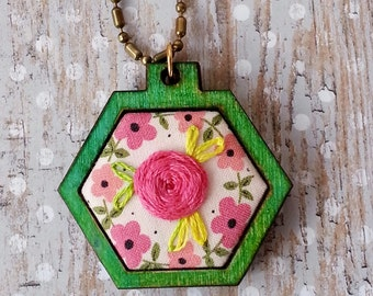 Green Mini Hexagon Pendant Necklace- pink embroidery flower wood wooden