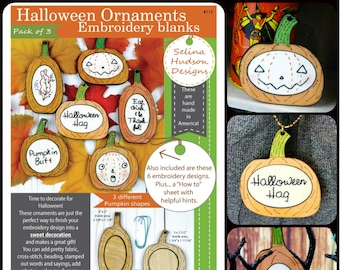 3 Halloween Pumpkin Ornament Embroidery Blanks - wood Frame ornies Craft Supply tree pendant