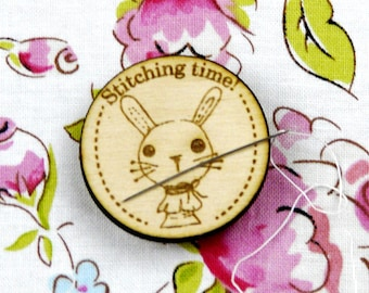 Bunny on a spool Needle Minder magnet - Cute Adorable wood supply supplies sewing Cross Stitch Wood Magnetic Hand embroidery pin Keeper