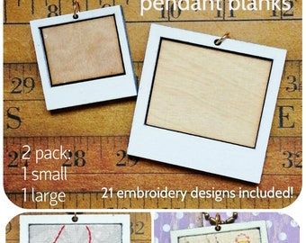 2 Photo Frame Pendant Embroidery Blanks - 21 designs Necklace Craft Supply Jewelry polaroid photo