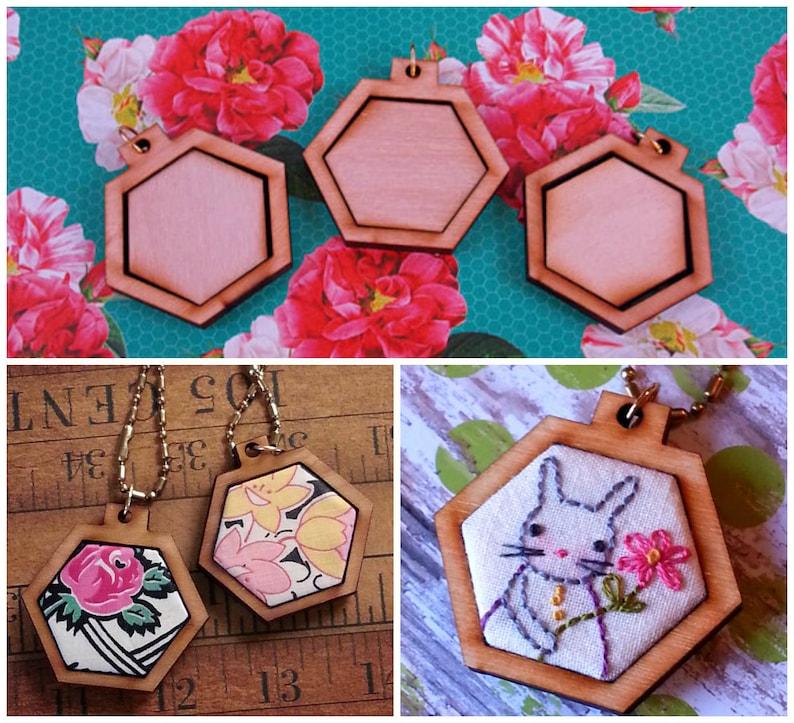 3 Mini Hexagon Pendant Embroidery Blanks  wood hexie Frame image 0