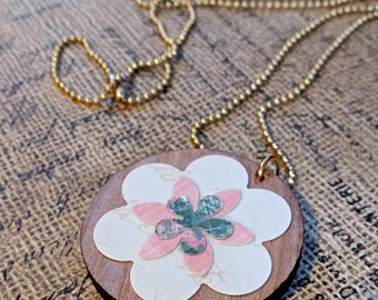 Wood Circle Pendant Paper Flower Necklace - Jewelry chain Mix media altered art