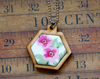 Pink flowers Mini Hexagon Pendant Necklace- wood wooden