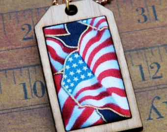American Flag Mini Tag Pendant Necklace - fabric wood patriotic