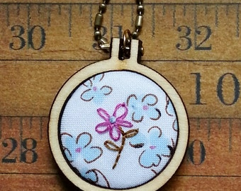 Sweet Flowers teeny Mini Hoop Pendant - pink blue Necklace Jewelry wood