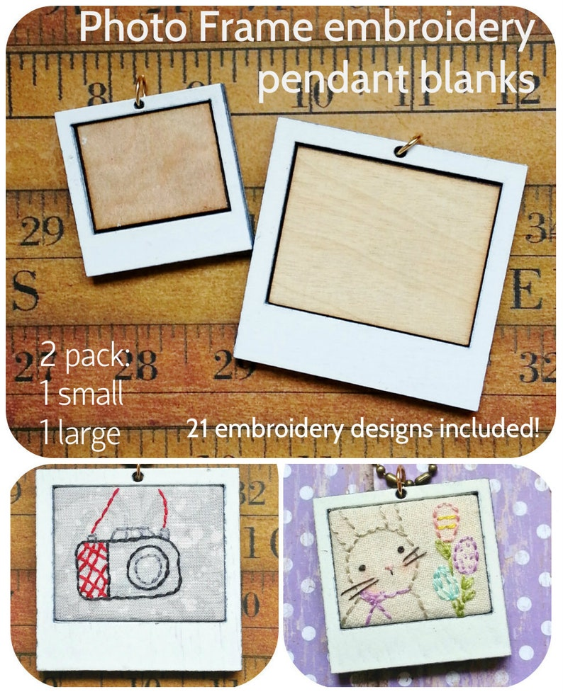 2 Photo Frame Pendant Embroidery Blanks  21 designs Necklace image 0
