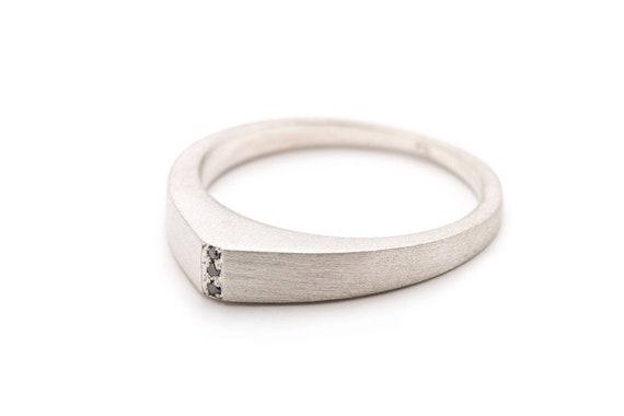 9068283962e Unisex Ring Geometric Mens Ring Black Diamonds Silver Ring