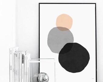 Minimal Geometric Art Print Drawing - Three Circles