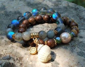 Pearl Bracelet Boho Labradorite Bracelet Stack Sandalwood Bracelet Natural Pearl Bracelet Seashell Bracelet Boho Jewelry