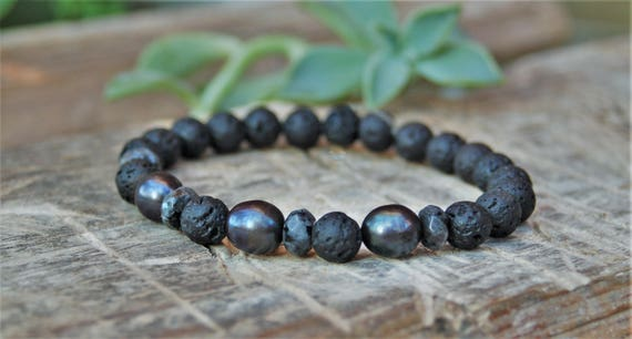 black pearl fresh water pearl one of a kind lava stone dark wood Mens pearl bracelet coconut shell and silver plated beads larvikite