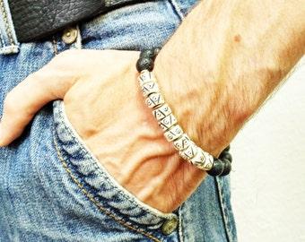 Bone Bracelet Lava Bracelet Mens Mala Bracelet Surfer Bracelet Black Lava Bracelet Yoga Bracelet Ox Bone Men Gemstone Jewelry Lava Stone