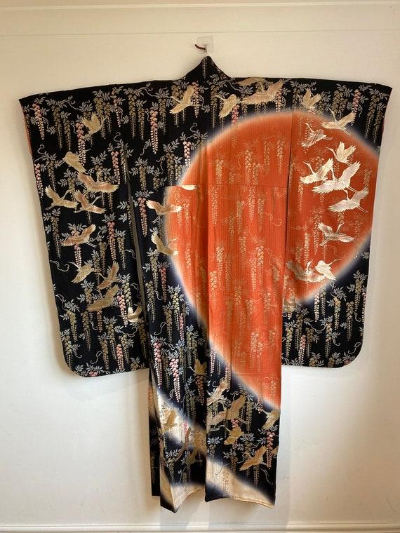 Wedding kimono bird stamped