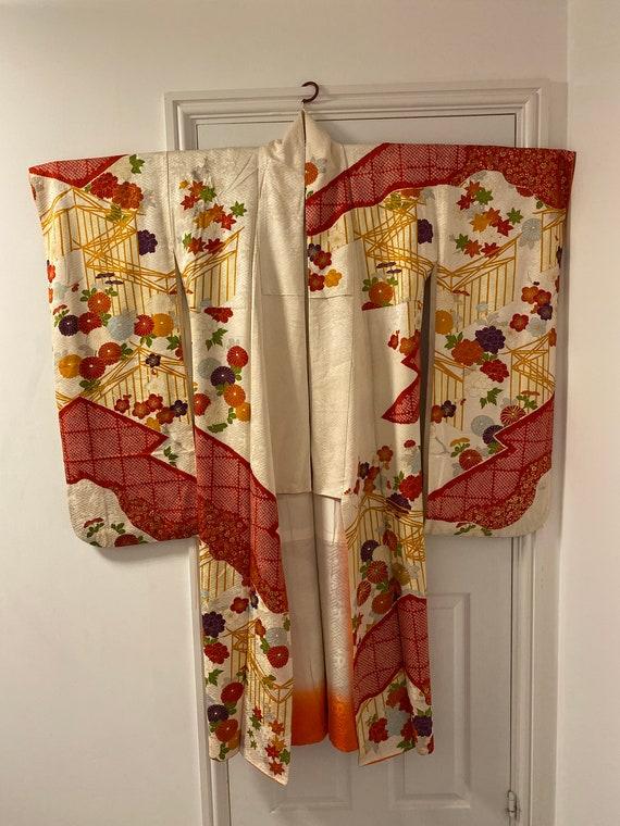 Silk Furisode embroidered