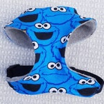 Dog Harness Vest Chest Design in a Cute Blue Monster Fabric with Fleece Lining perfect for a Puppy Gift