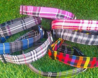 Tartan Dog Collar, Plaid Dog Collar, Personalized Dog Collar,  Personalised Dog Collar, Check Dog Collar, Boy Dog Collar - Girl Dog Collar