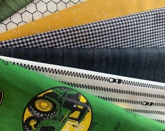 Farmer's fat quarter custom bundle quilting fabric includes 7 fat quarters, John Deere