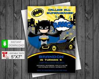 Batman invite etsy printable invitation hero batboy in pdf with editable texts batman superheroes party invitation edit and print yourself solutioingenieria Choice Image