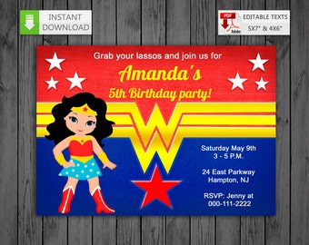 Printable Invitation Wonder Girl In PDF With Editable Texts Super WW Edit And Print Yourself