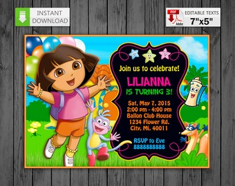 Printable invitation Dora the Explorer in PDF with Editable Texts, Dora the Explorer Invitation, edit and print yourself! Instant Download!