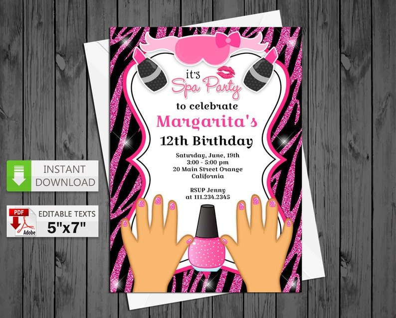 Printable invitation SPA party in PDF with Editable Texts, Spa party Zebra  pink for girl party Invitation, edit and print yourself!