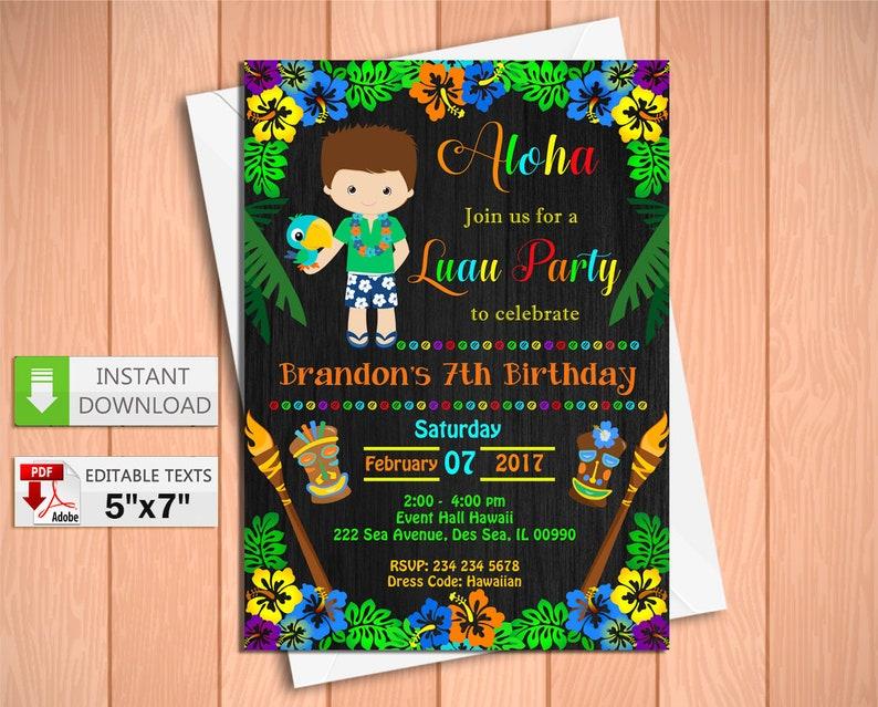 Printable Invitation Luau Boy Party In PDF With Editable