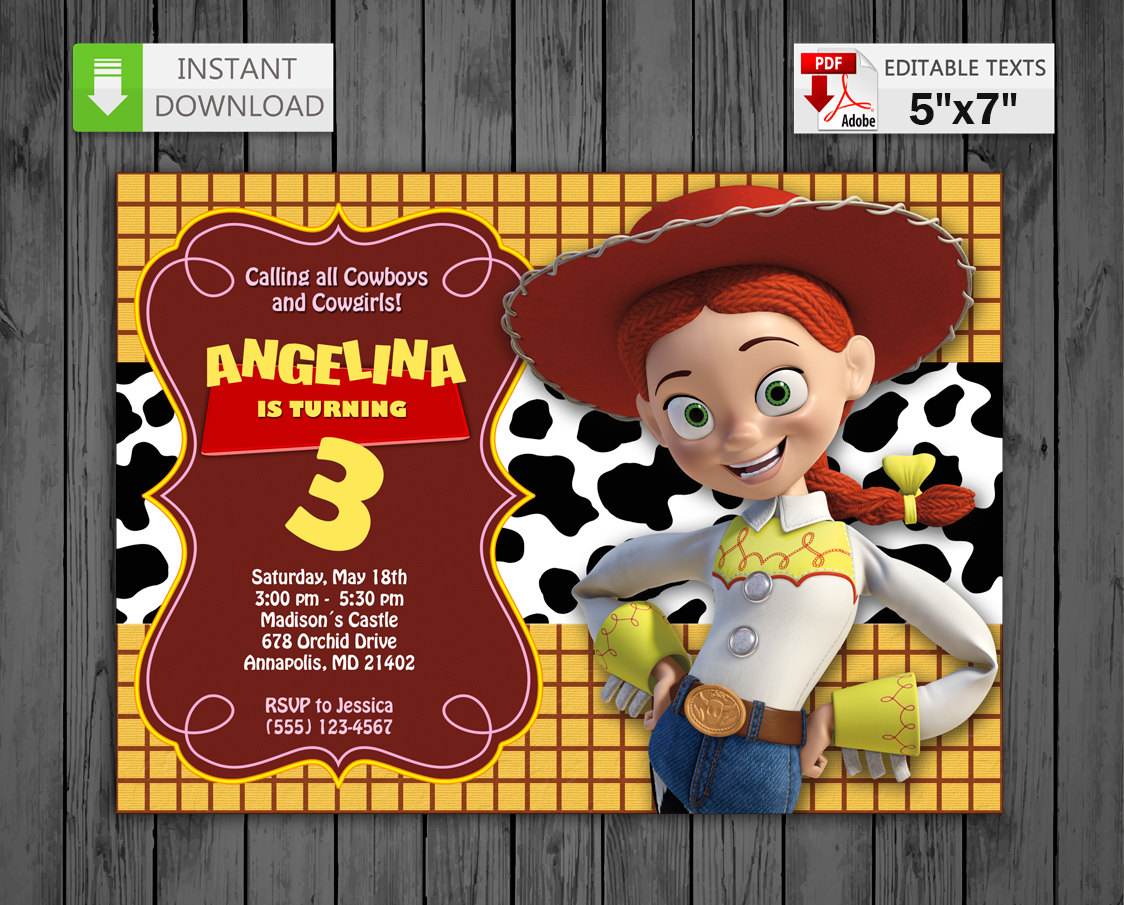Printable invitation Jessie Cowgirl in PDF with Editable | Etsy